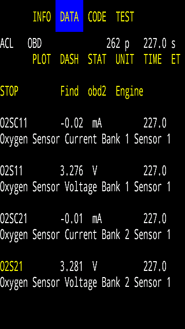 OBD-2 Car Code O2 Sensor Data